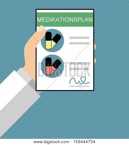 Hand holding Medical Plan in german language - Flat Design