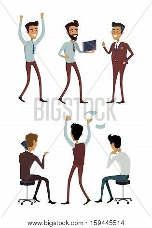 Set of business characters in flat style design. Successful people vector collection. Businessman at work. Getting result, good managing, success celebration, making calls, finding idea concepts.