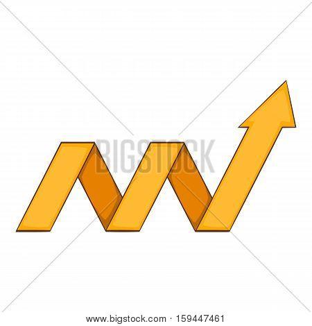 Yellow growth arrow chart icon. Cartoon illustration of yellow growth arrow chart vector icon for web