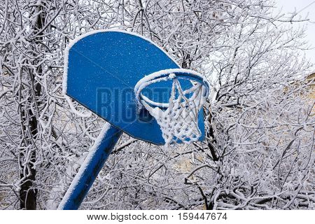 Snow covered basketball hoop in a sunny day