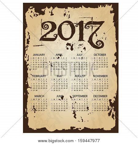 2017 Simple Business Wall Calendar With Torn Old Paper Background Eps10