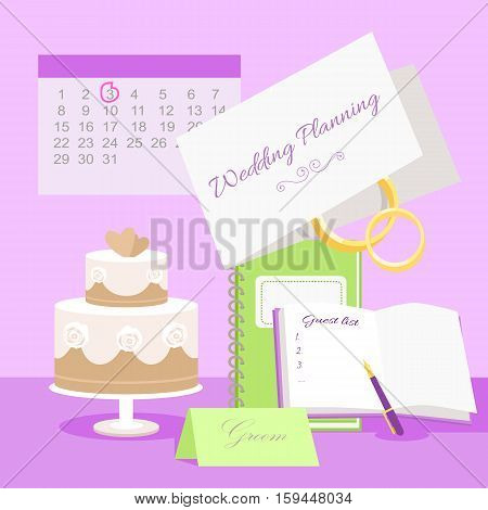 Wedding planning vector concept. Illustration with wedding tier cake, notepads for plans and guest list, invitation to marriage ceremony, rings and calendar with day highlighted red. Pink background