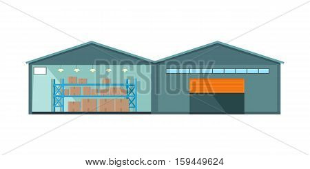 Worldwide warehouse delivering. Storehouse building. Logistics container shipping and distribution. Transportation through the world. Loading and unloading boxes. Part of series of worldwide delivery