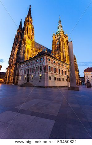 St. Vitus Cathedral in the evening, Prague, Czech Republic. Facade from the patio.