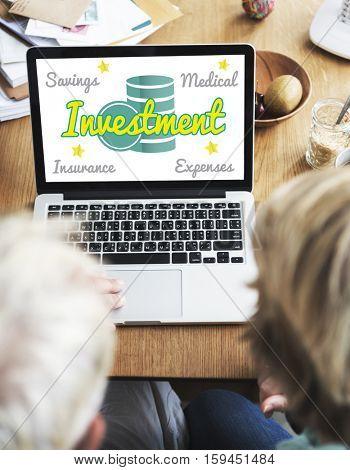Retirement Senior Plan Coins Investment Graphic Concept