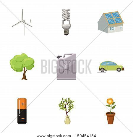 Natural environment icons set. Cartoon illustration of 9 natural environment vector icons for web