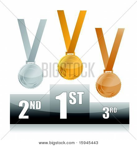 Podium with gold, silver and bronze medals isolated over a white background