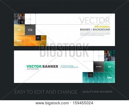 Vector set of modern horizontal website banners with rectangular shapes, squares, lines, rounds for IT, business, building, network, communication.  Clean web headers design.