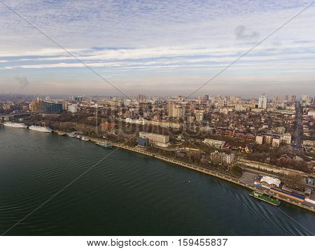 Waterfront, ambarkment of right bank of river Don. Aerial view.