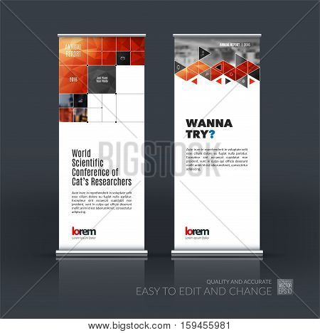 Business vector set of modern roll Up Banner stand design with red rectangular shapes, triangles, squares, lines, rounds for IT, business, building. Exhibition, fair, show. Abstract creative art.