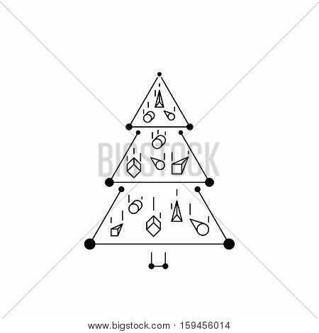 christmas tree in line art, diferent stile, for postcard, poster, gifts