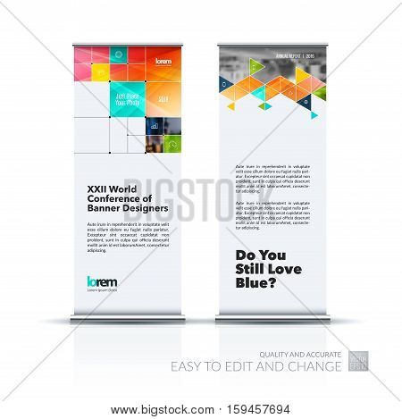 Business vector set of modern roll Up Banner stand design with colourful rectangular shapes, triangles, squares, lines, rounds for IT, business, building. Exhibition, fair, show. Abstract creative art.