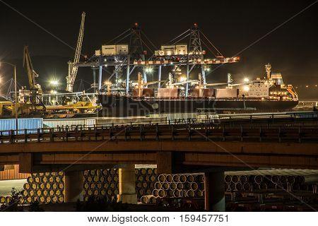 ARIETTA - Bulk Carrier - Ship - 28th August 2015 - Port Burgas, Bulgaria - Cargo cranes on the coast of Fish port