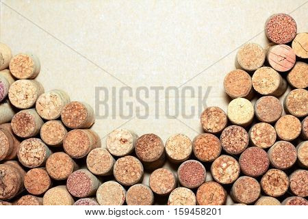 Wine corks on paper background for your text