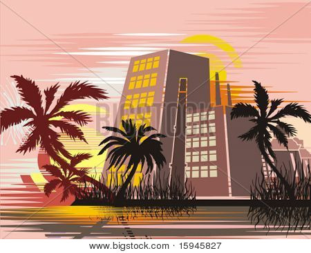 Cityscape at tropical sunset, vector illustration series.