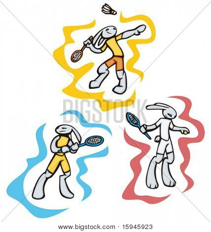Bunny badminton and tennis, vector. Great for t-shirt designs, mascot logos and other designs. Vinyl-ready.