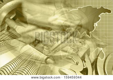 Financial background in sepia with money ruler map and buildings.