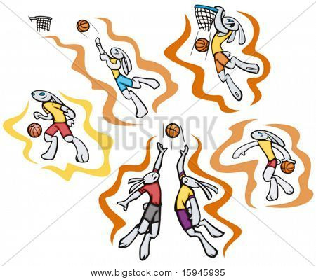 Bunny basketball, vector. Great for t-shirt designs, mascot logos and other designs. Vinyl-ready.