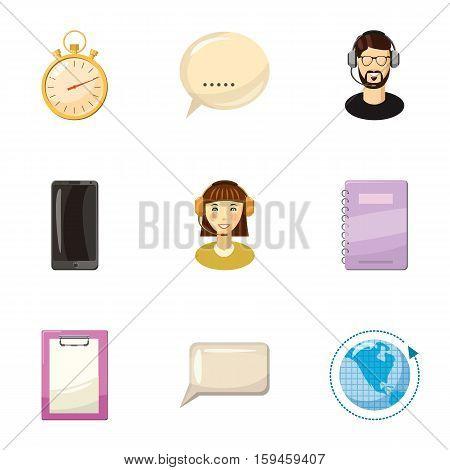 Client consultation icons set. Cartoon illustration of 9 client consultation vector icons for web