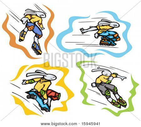 Bunny roller skating and skateboarding, vector. Great for t-shirt designs, mascot logos and other designs. Vinyl-ready.