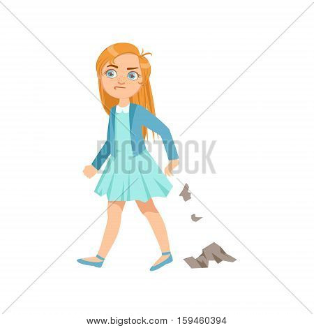 Girl Littering Teenage Bully Demonstrating Mischievous Uncontrollable Delinquent Behavior Cartoon Illustration. Cute Big-Eyed Child Vector Character Behaving Aggressively And Bullying Other Children.