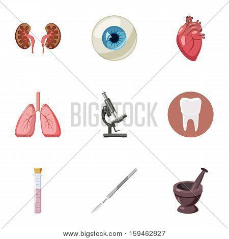 Medicine icons set. Cartoon illustration of 9 medicine vector icons for web