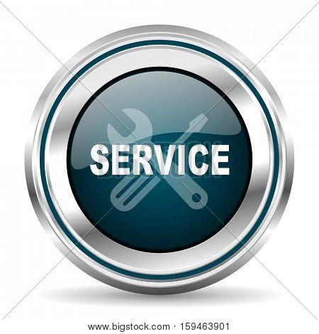 Service vector icon. Chrome border round web button. Silver metallic pushbutton.