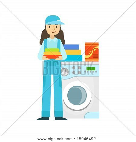 Woman Washing Clothing In Washing Machine, Cleaning Service Professional Cleaner In Uniform Cleaning In The Household. Person Working In Housekeeping At Work Doing Clean Up Vector Illustration.