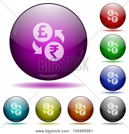 Euro Rupee exchange color glass sphere buttons with shadows.