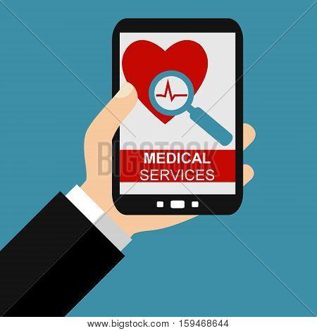 Hand holding Smartphone: Medical Services - Flat Design