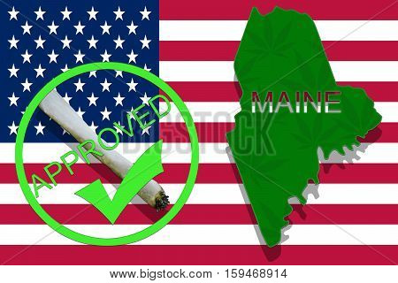 Maine On Cannabis Background. Drug Policy. Legalization Of Marijuana On Usa Flag,