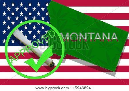 Montana On Cannabis Background. Drug Policy. Legalization Of Marijuana On Usa Flag,