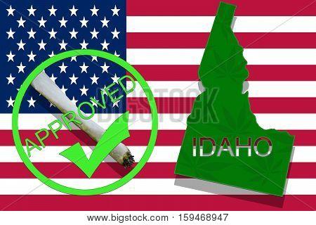 Idaho On Cannabis Background. Drug Policy. Legalization Of Marijuana On Usa Flag,