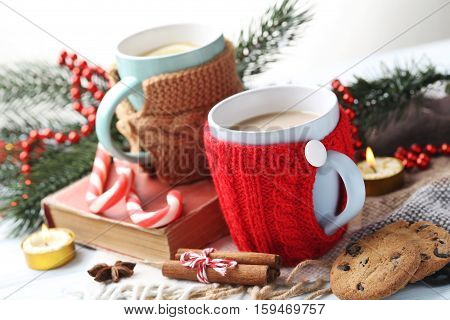 Cup Of Coffee And Tea On A Wooden Table