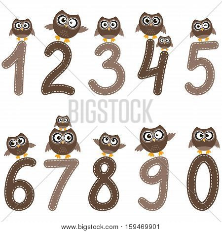 numbers from zero to nine and owls