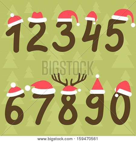 numbers from zero to nine with Santa hats