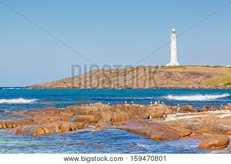 Cape Leeuwin Lighthouse at the south-western tip of Australia, where two oceans meet.