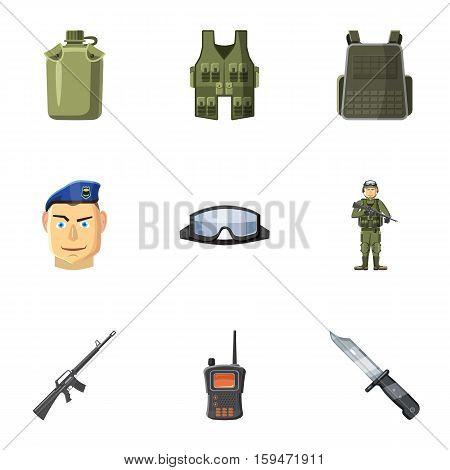 Military defense icons set. Cartoon illustration of 9 military defense vector icons for web