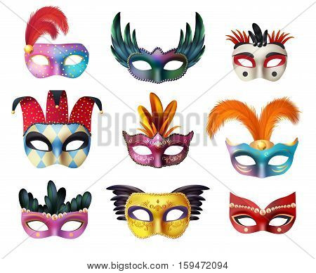 Authentic handmade venetian painted carnival face masks collection for party decoration or masquerade realistic isolated vector illustration