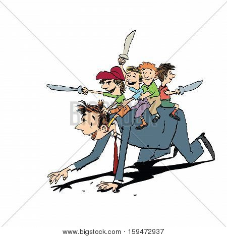 Dad plays with the kids in knights, hand drawn vector illustration. Happy family. Color illustration