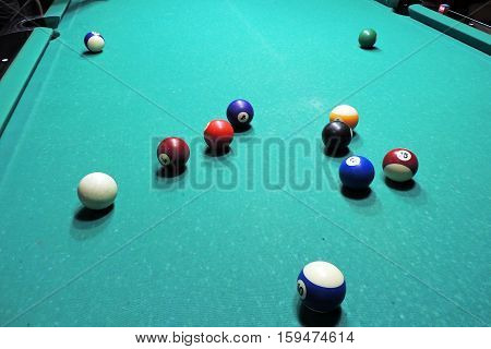 Billiards Table And Balls