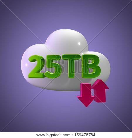 3D Rendering Cloud Data Upload Download illustration 25 TB Capacity