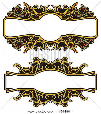A set of 2 very CLEAN and EXQUISITE color panels with ornamental elements.