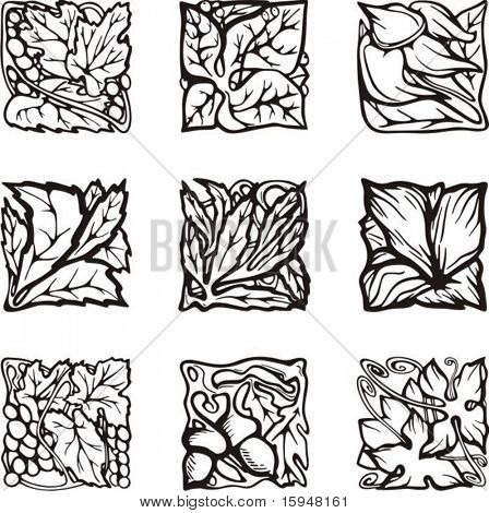 Floral rectangle design elements, vector series.