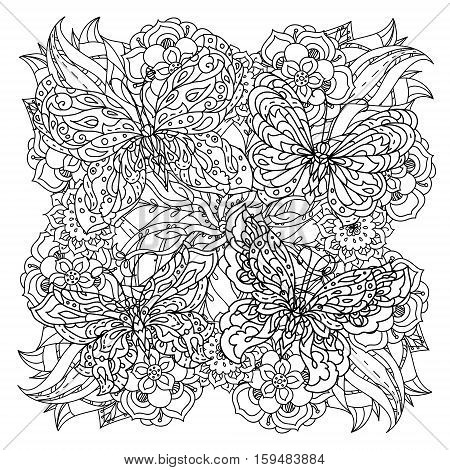 contoured butterflies and asian style flowers in mandala shape. zen style picture for anti stress drawing or colouring book. Hand-drawn, retro, doodle, vector, for coloring book, poster or card design