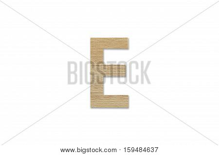 English Alphabet E Made From Wood Isolated On White Background