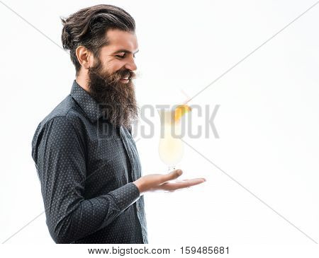 Bearded Man With Noalcoholic Cocktail