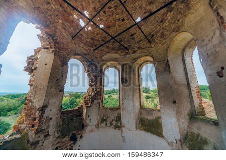 Under dome of abandoned Church of the Assumption of the Blessed Virgin in the village Basovka, Voronezh region, Russia