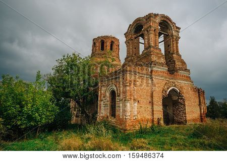 Abandoned ruins of the Church of the Assumption of the Blessed Virgin in the village Basovka, Voronezh region, Russia