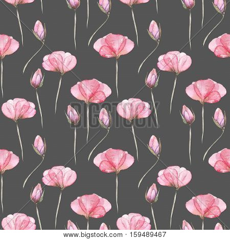 Seamless floral pattern with pink tender flowers hand drawn in watercolor on a dark background